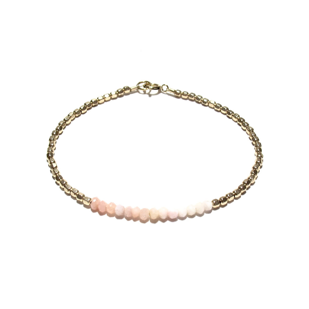 pink opals line and gold beads bracelet