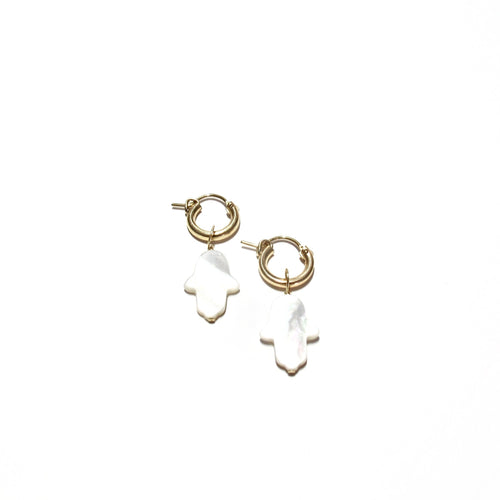 mother of pearl hamsa small hoops