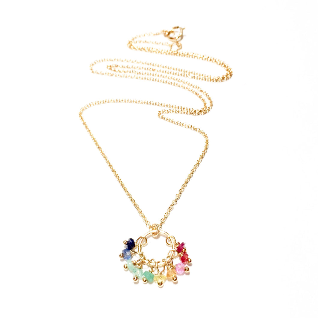 rainbow gemstones ring necklace