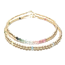Load image into Gallery viewer, rainbow tourmaline line and gold beads bracelet