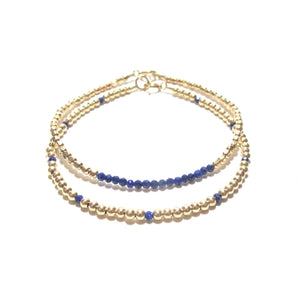 lapis lazuli line and gold beads bracelet