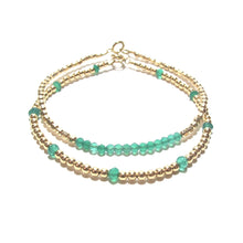 Load image into Gallery viewer, green onyx line and gold beads bracelet