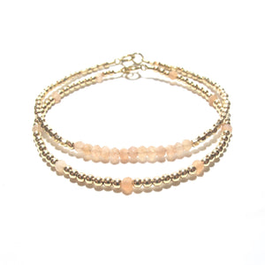 sunstone line and gold beads bracelet