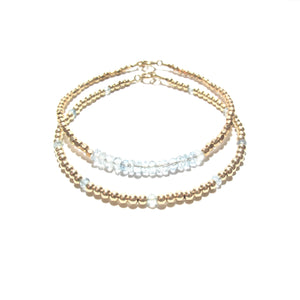 aquamarine line and gold beads bracelet