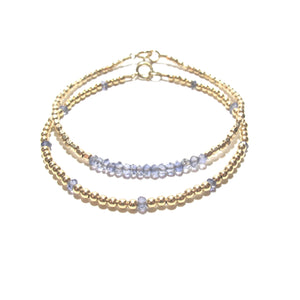 blue iolite line and gold beads bracelet