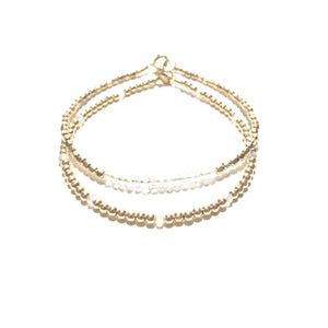 moonstone line and gold beads bracelet