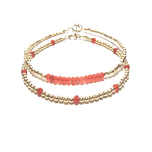 Load image into Gallery viewer, red agate line and gold beads bracelet