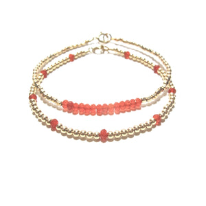 red agate line and gold beads bracelet