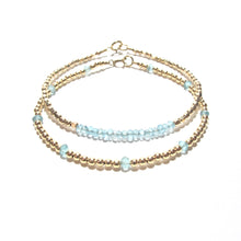 Load image into Gallery viewer, apatite line and gold beads bracelet