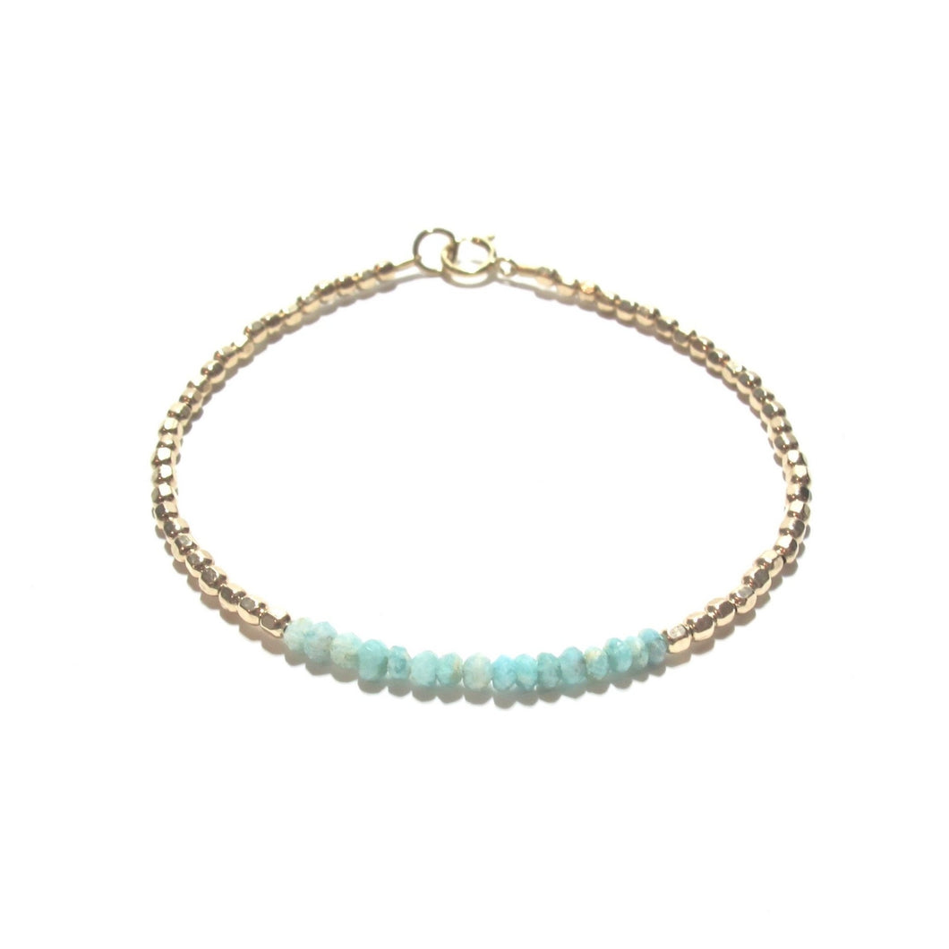 amazonite line and gold beads bracelet