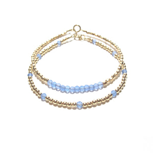 blue chalcedony line and gold beads bracelet