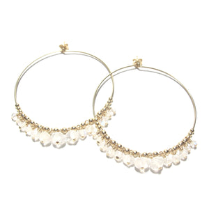 multi moonstone large hoop earrings