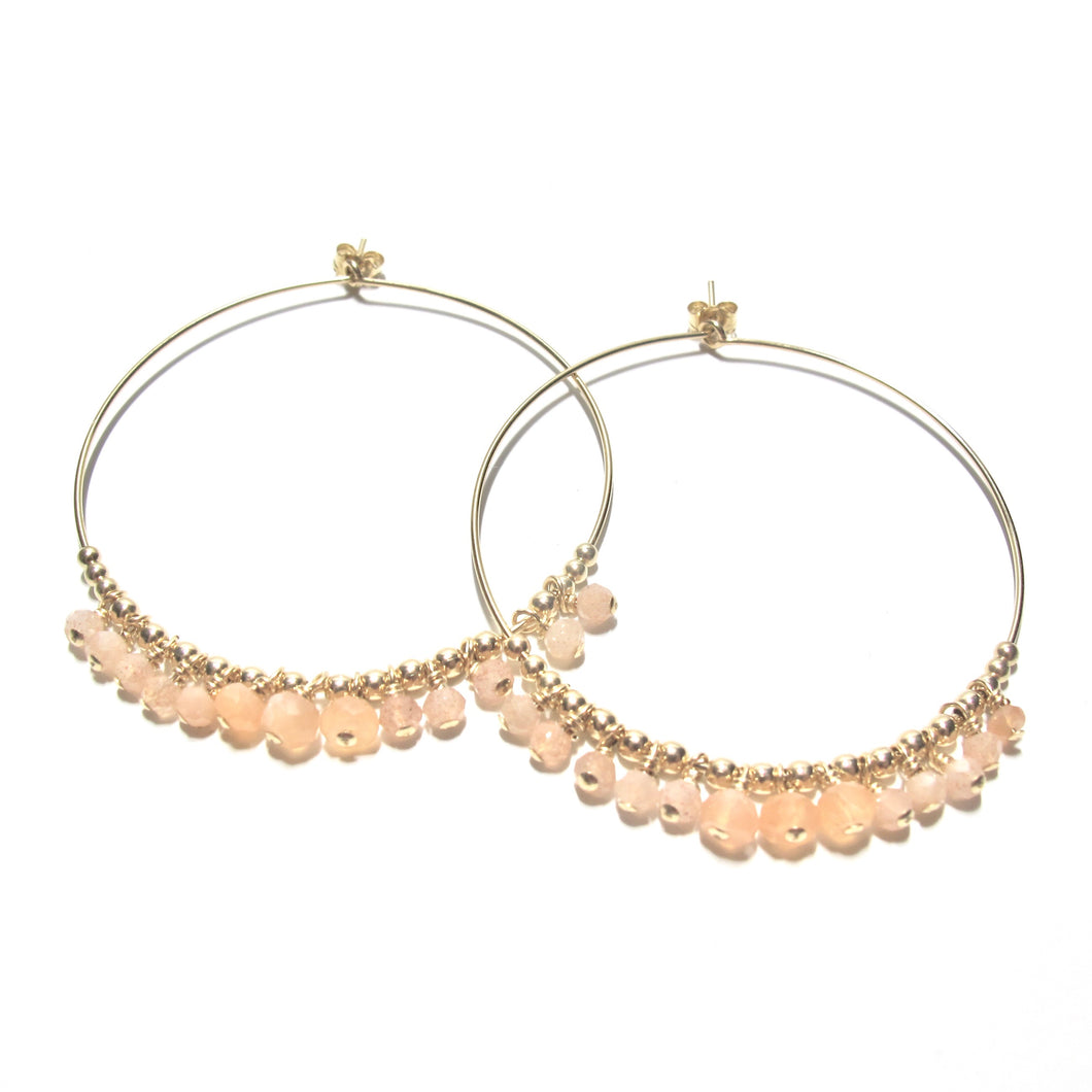 multi sunstone large hoop earrings