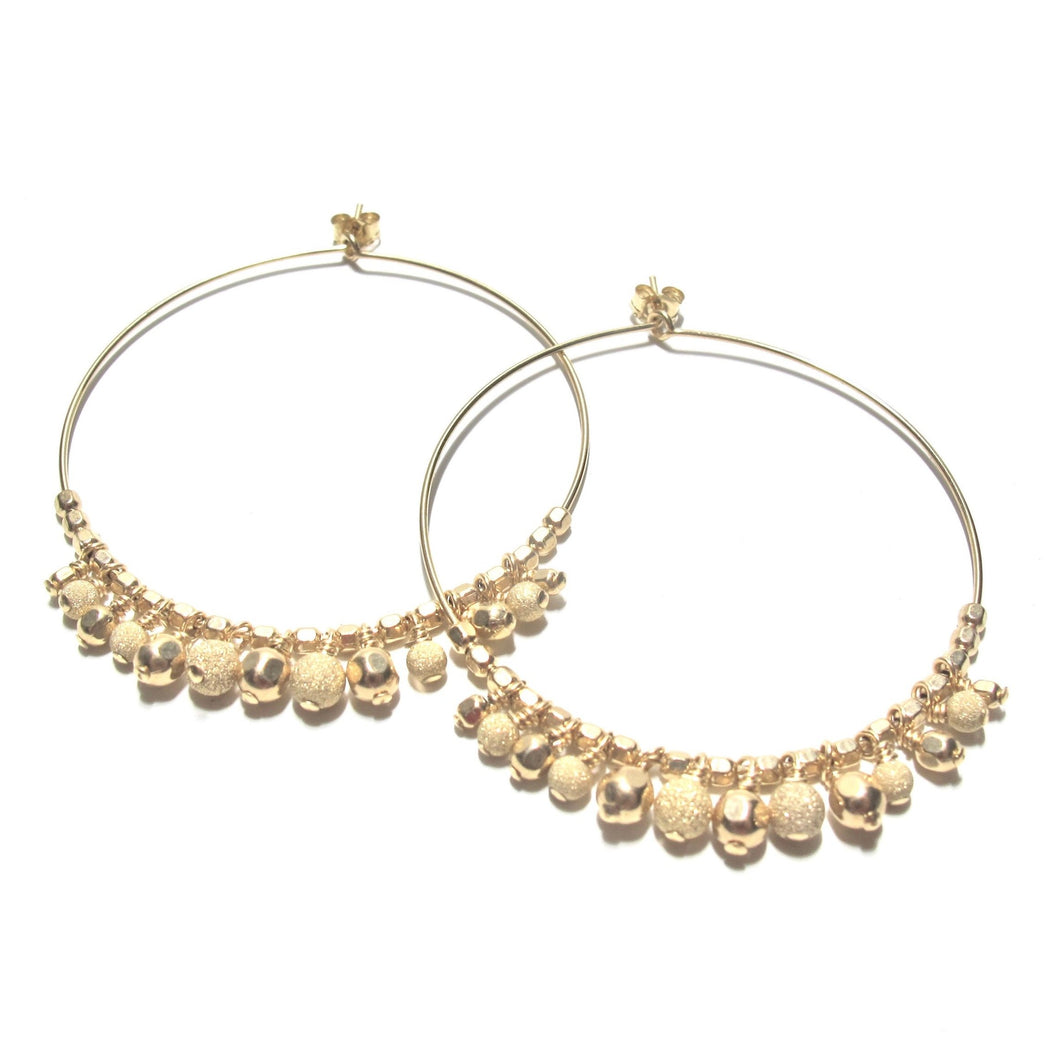 multi gold beads large hoop earrings