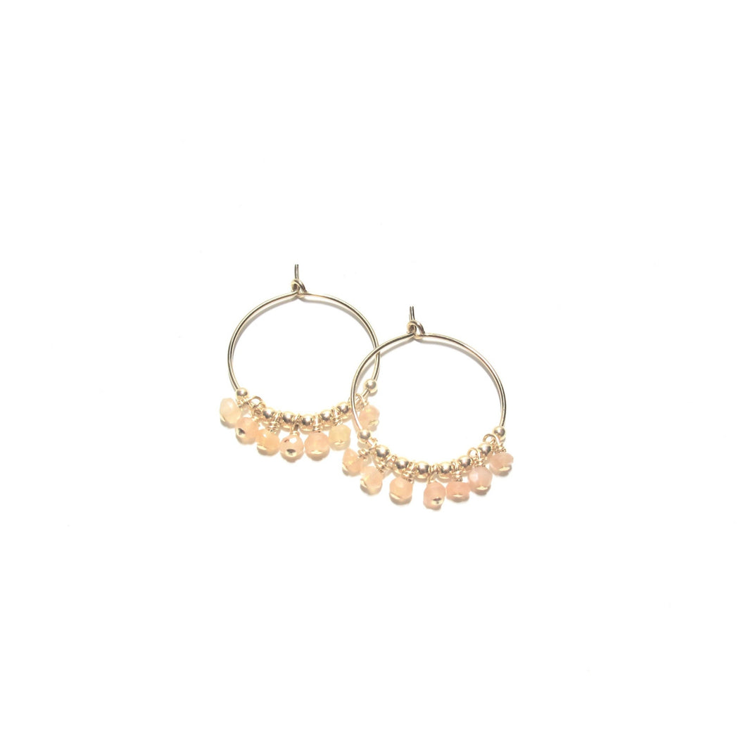 multi sunstone midi hoop earrings