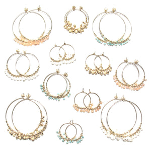 multi gold beads midi hoop earrings