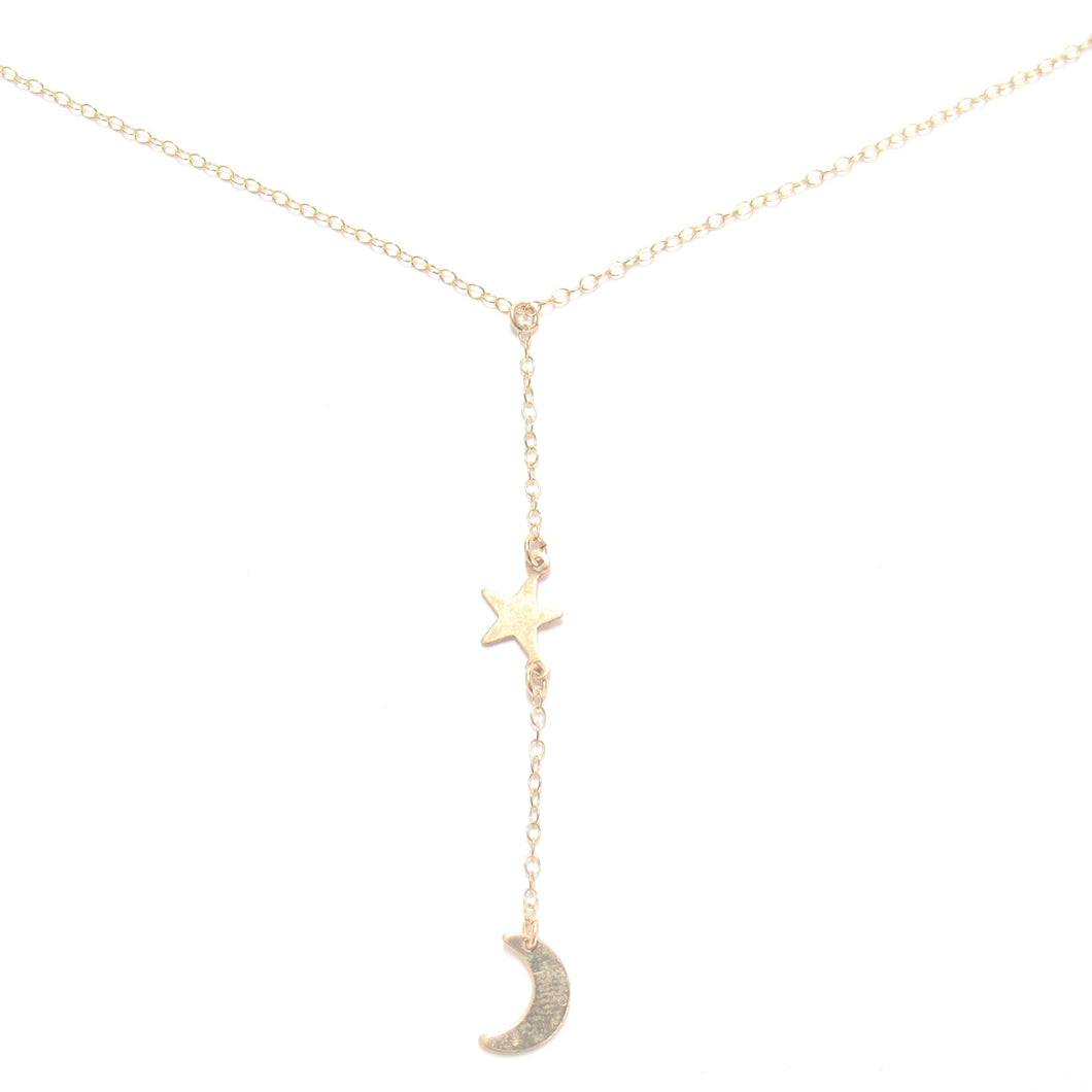 moon and star lariat necklace