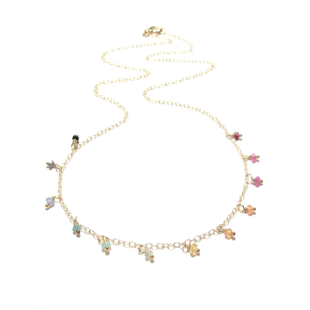 dotted rainbow gemstones necklace