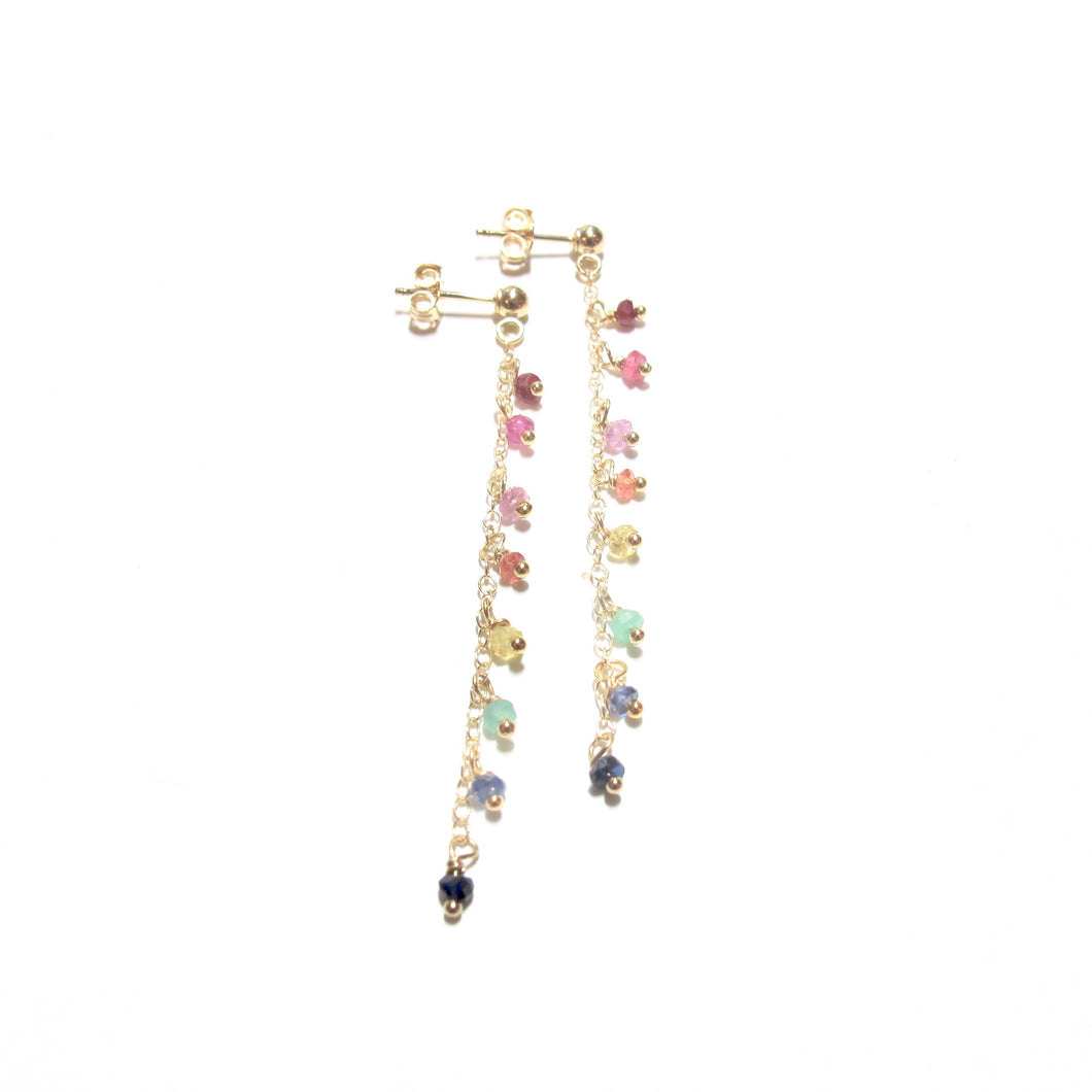 rainbow gemstones drop earrings