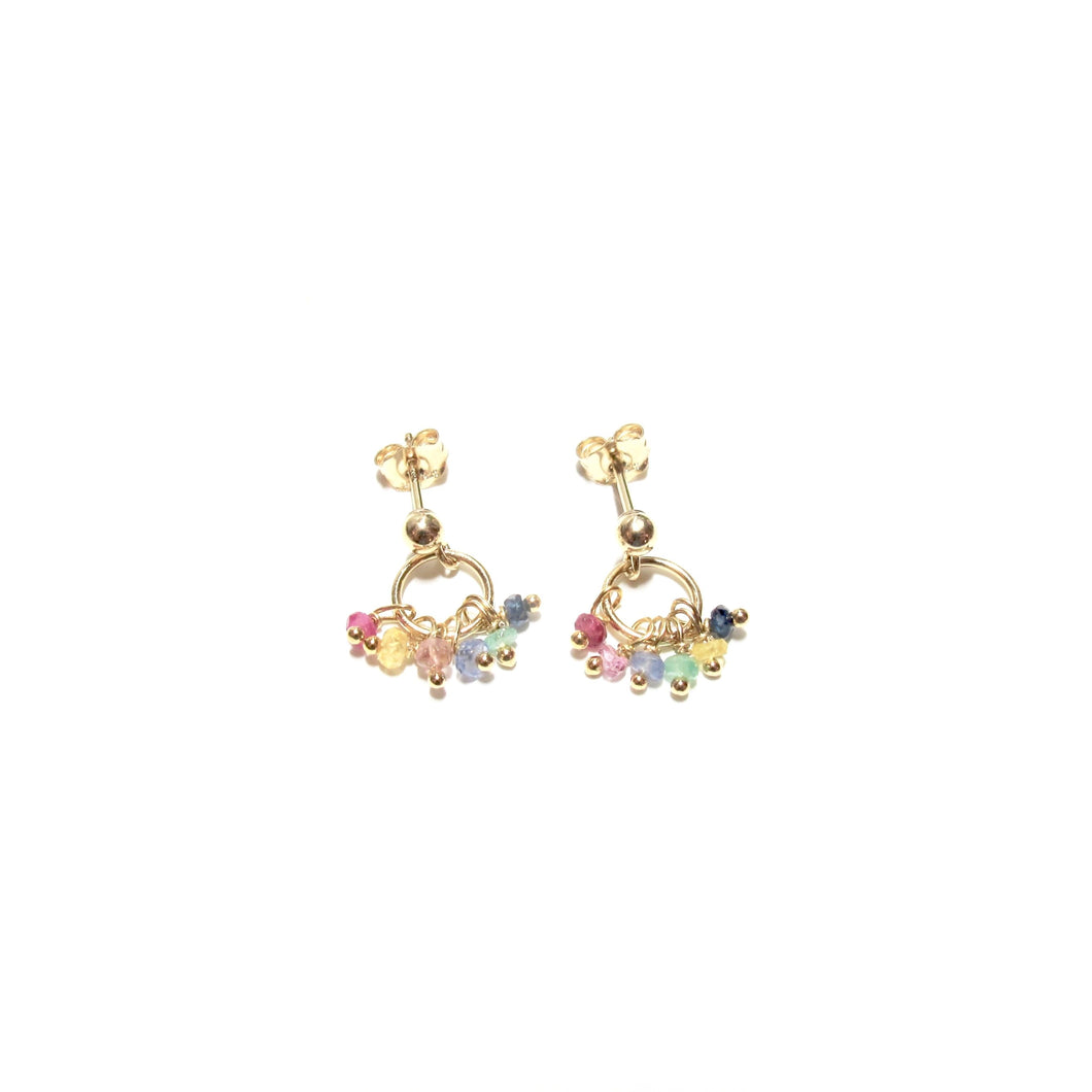 rainbow gemstones tiny ring earrings