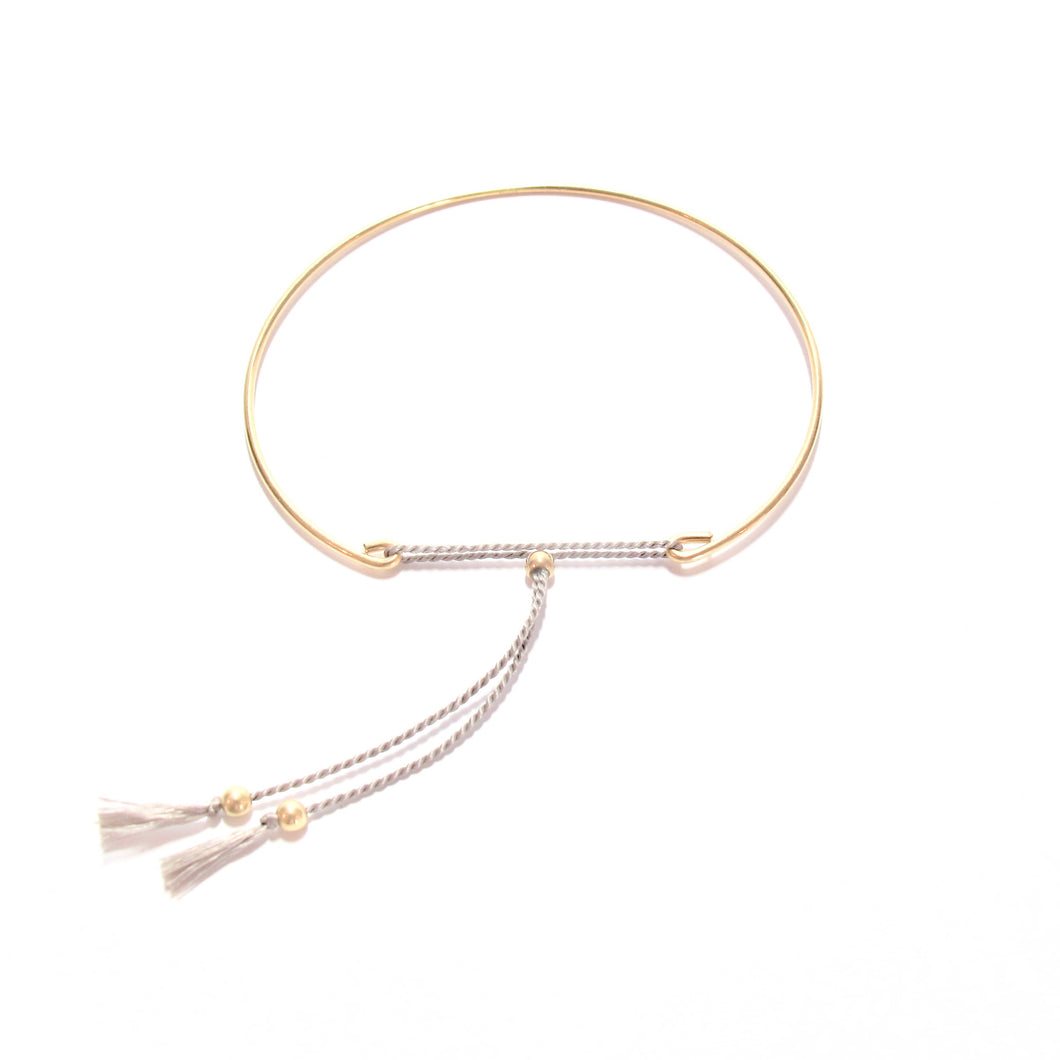 fine bangle with grey silk