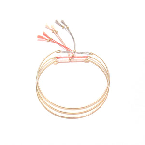 fine bangle with pink silk