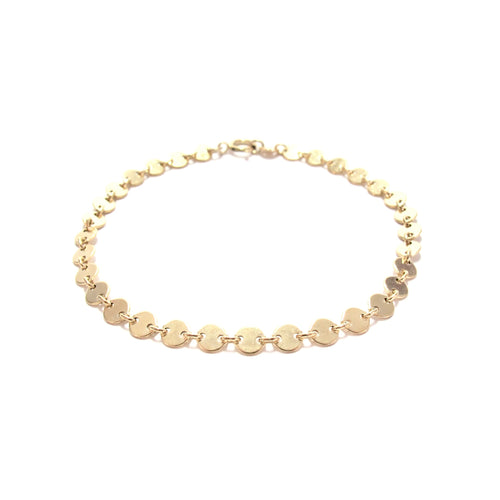 gold chain of discs bracelet