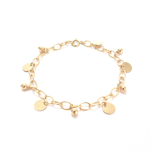 gold beads and discs bracelet