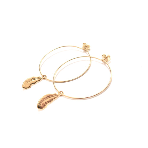 feather medium hoop earrings