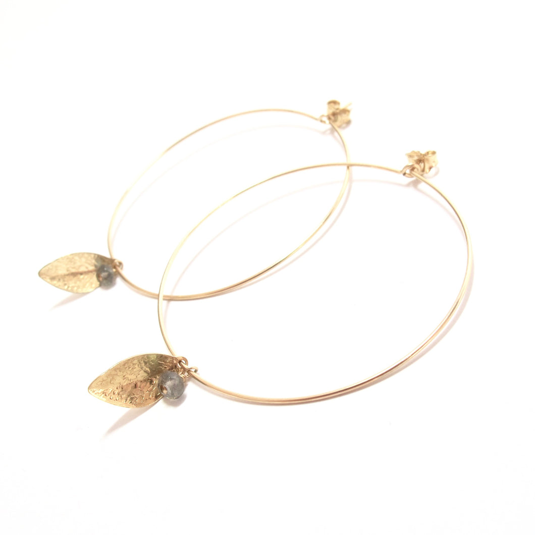 leaf stone large hoop earrings