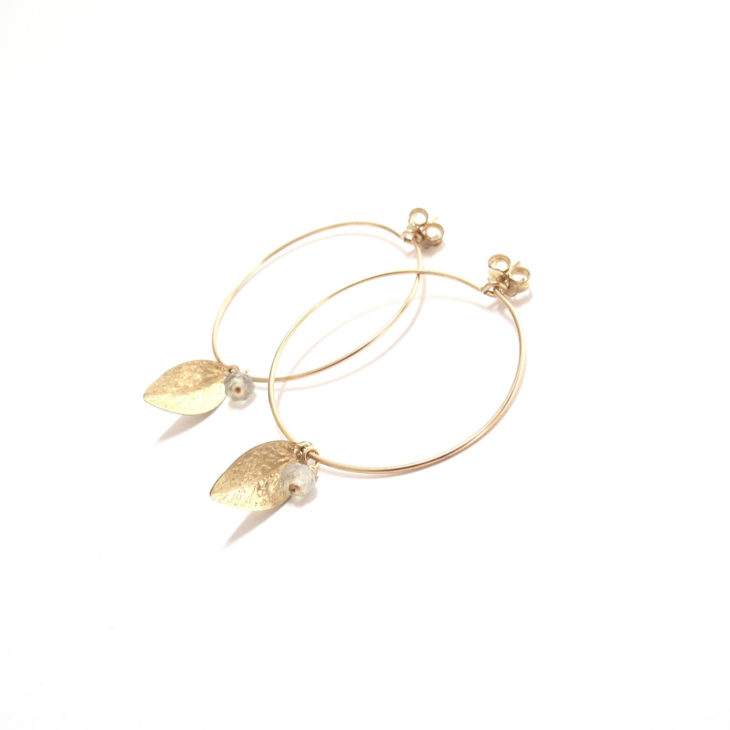leaf stone medium hoop earrings