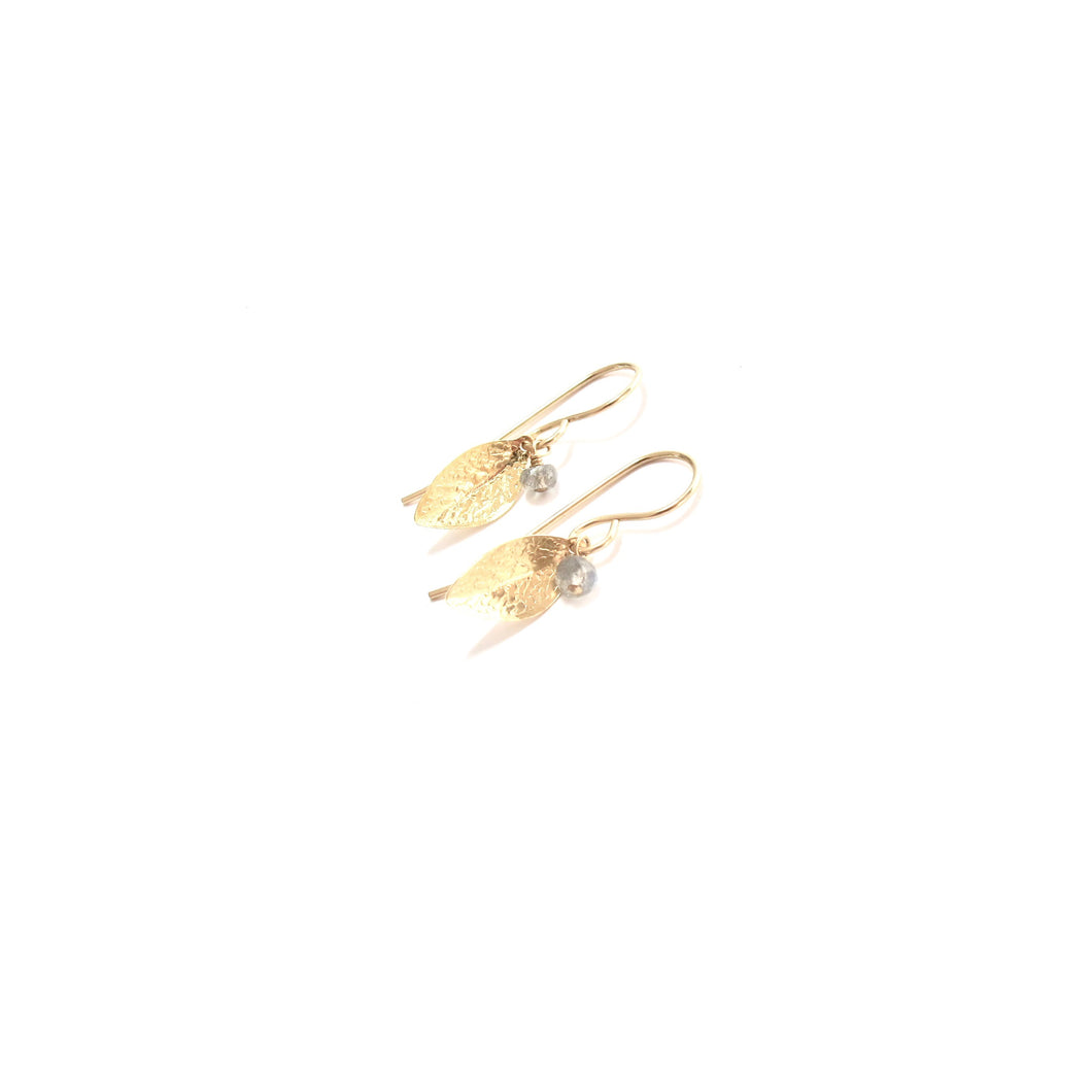 leaf stone hook earrings