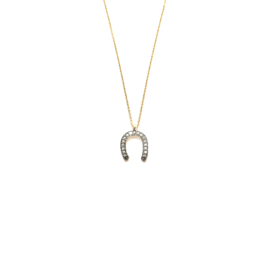 pave diamond horseshoe necklace
