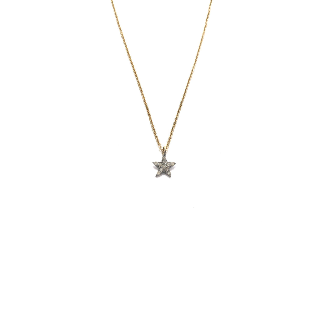 tiny pave diamond star necklace