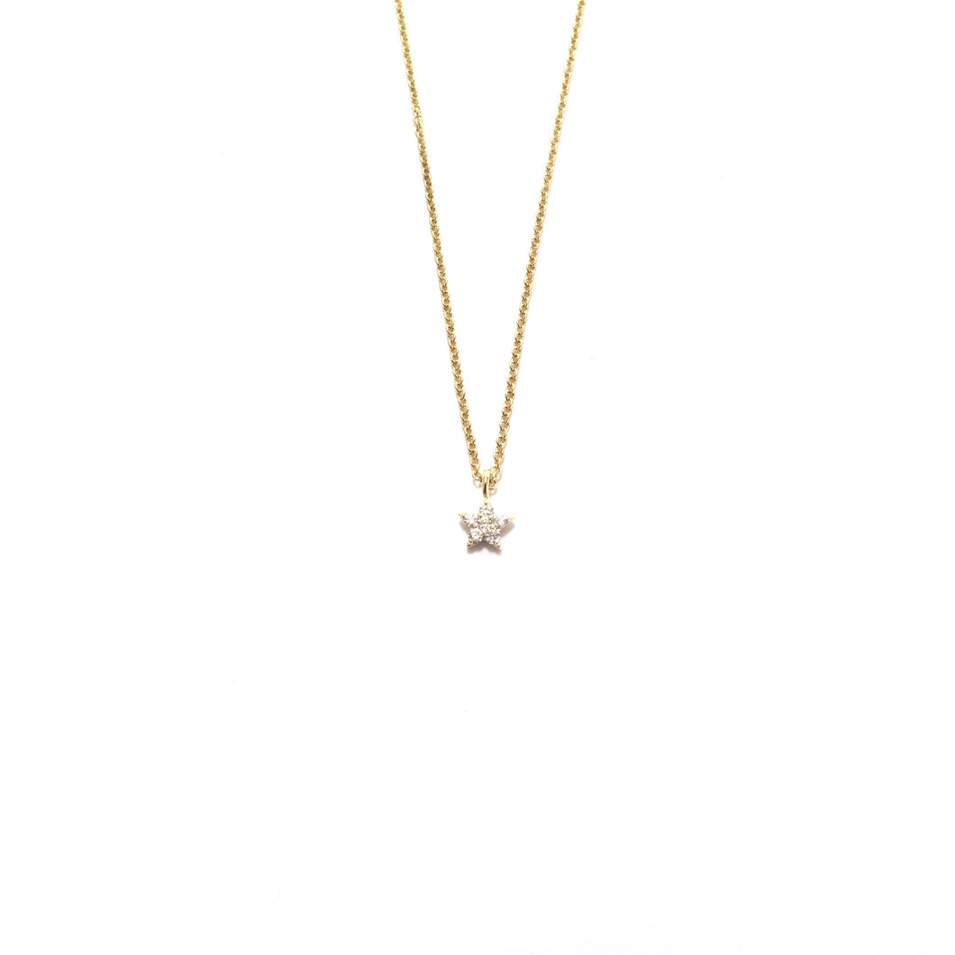 tiny white diamond star necklace