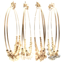 Load image into Gallery viewer, multi gold beads large hoop earrings