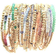 Load image into Gallery viewer, rainbow gemstones and gold beads bracelet