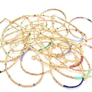 rainbow gemstones and gold beads bracelet