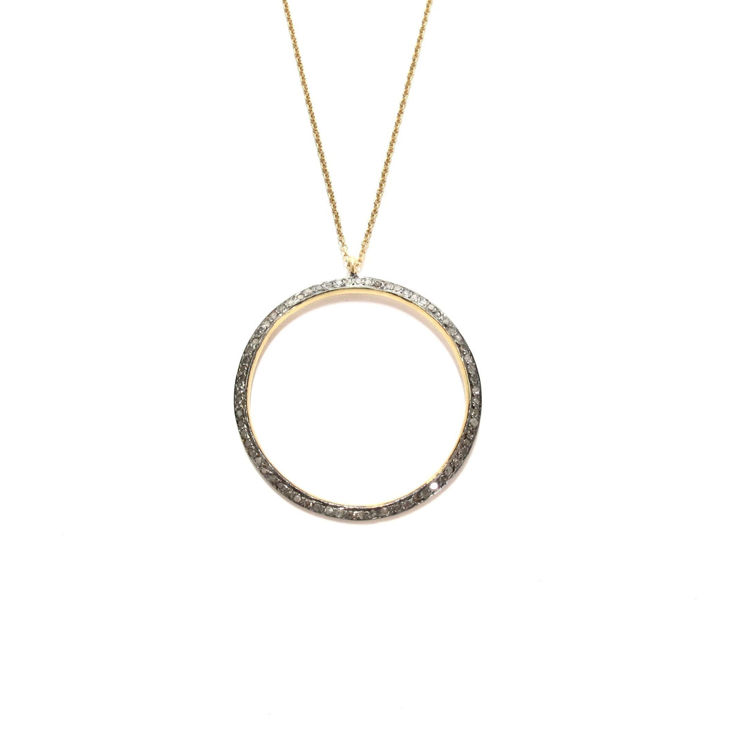 large pave diamond ring necklace
