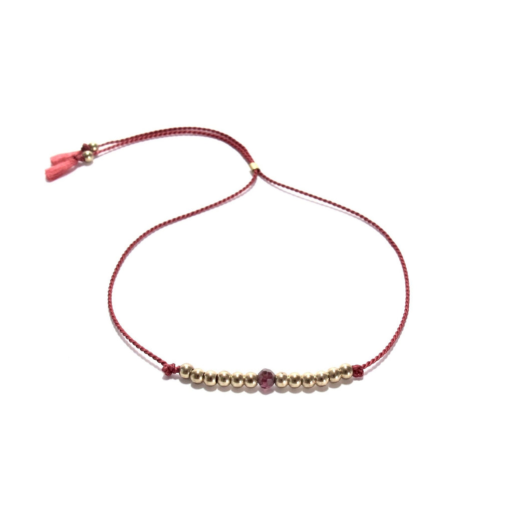 dark red silk friendship bracelet