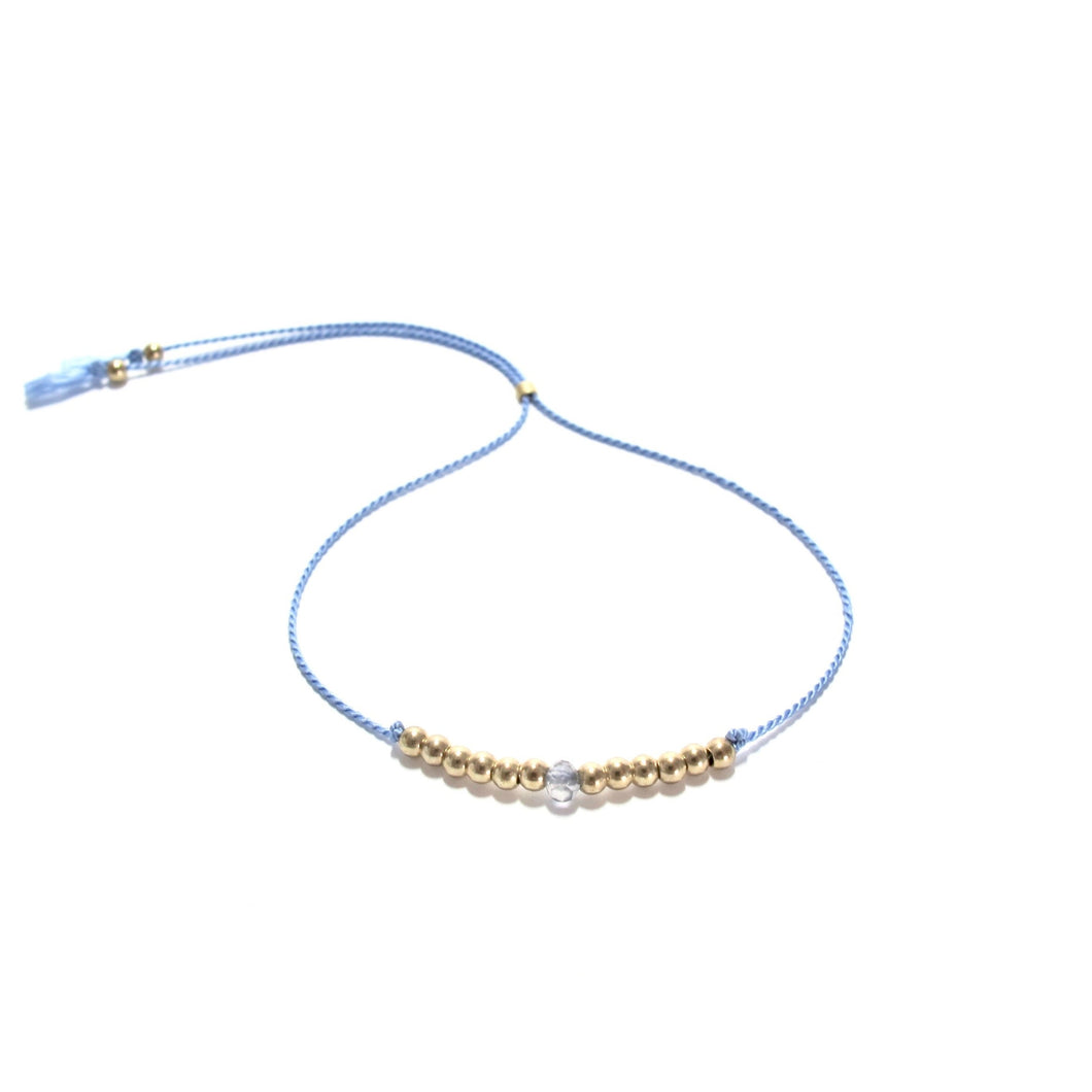 cornflower blue silk friendship bracelet