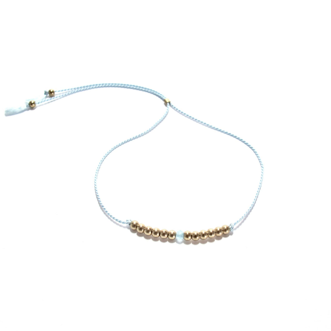 pale blue silk friendship bracelet