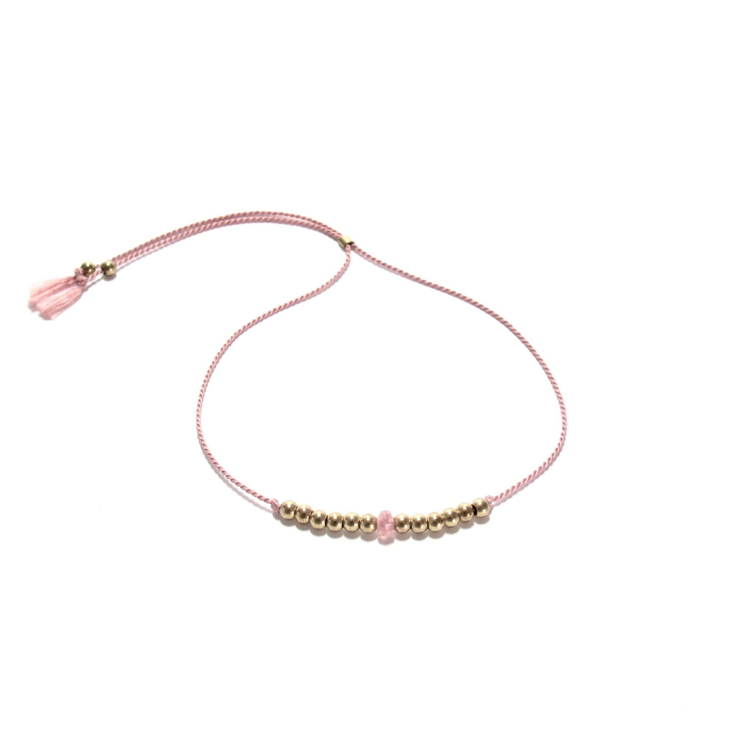 blush pink silk friendship bracelet