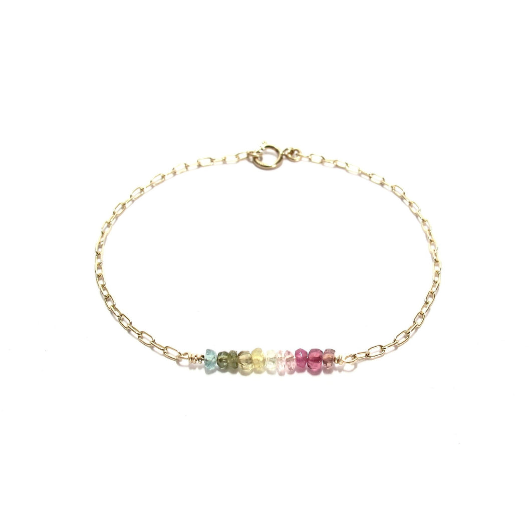 line of rainbow tourmaline chain bracelet