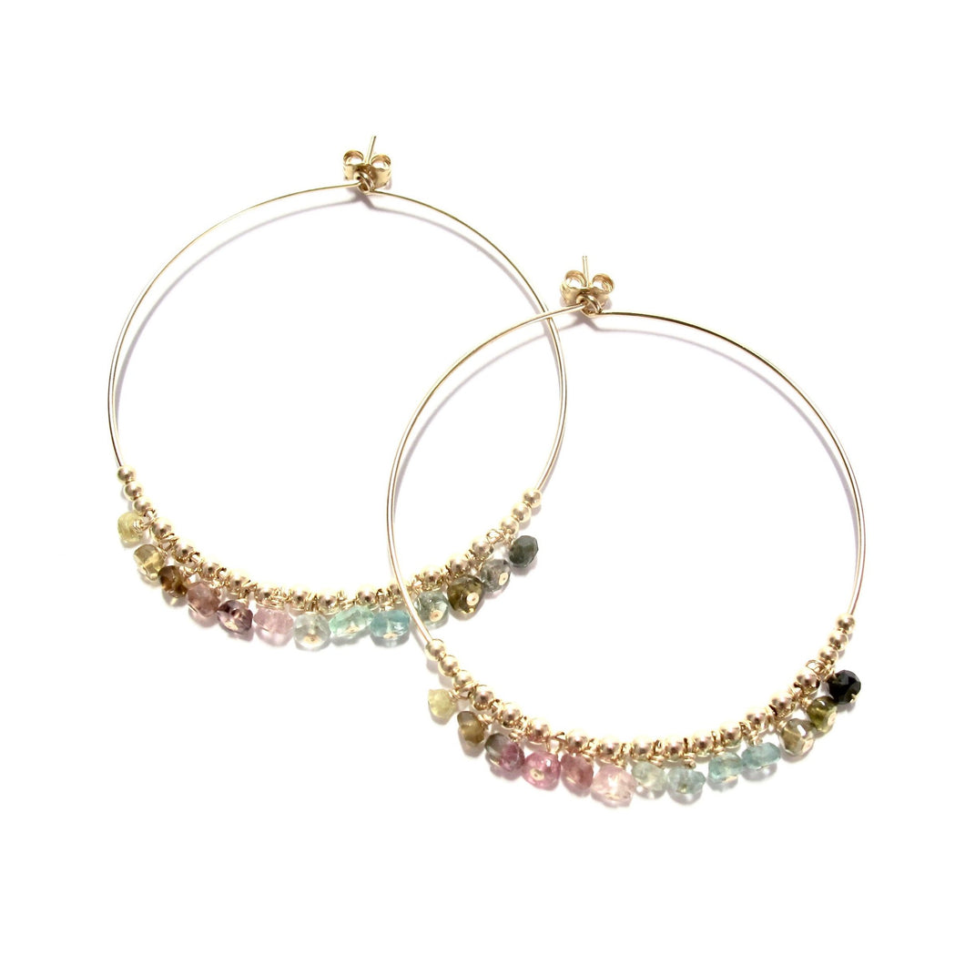 multi rainbow tourmaline large hoop earrings