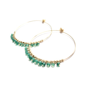 multi green onyx large hoop earrings