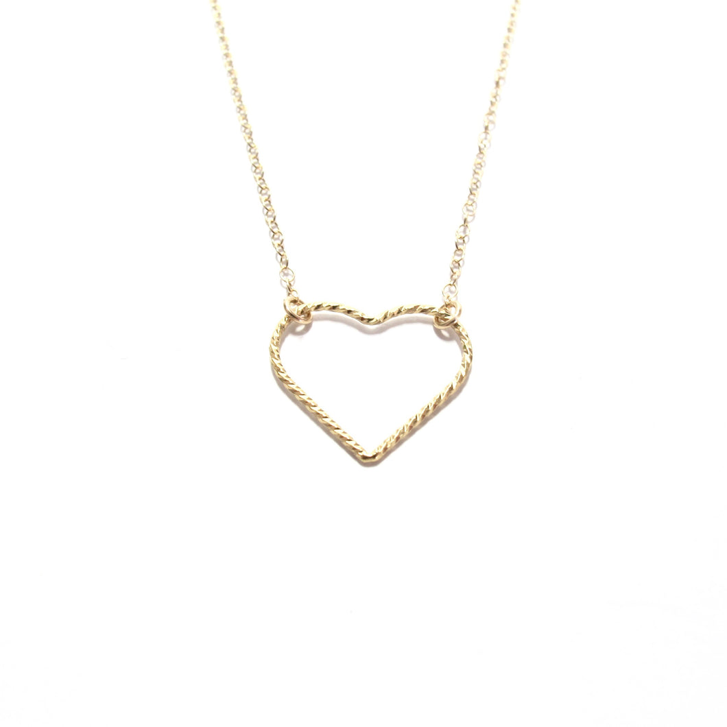 large sparkle heart necklace
