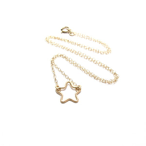 small cut out star necklace