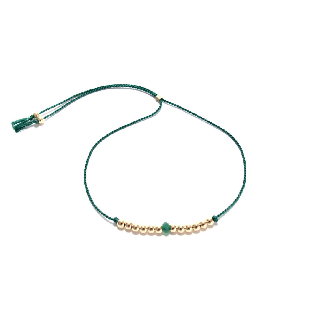 green silk friendship bracelet