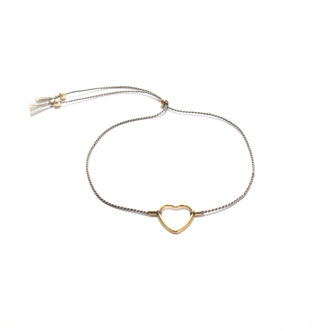 grey silk heart friendship bracelet
